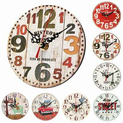 5/12''Vintage Rustic Wooden Wall Clock Home Antique Shabby Chic Retro Home