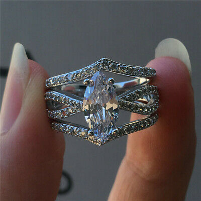 Luxury Marquise Cut White Sapphire CZ Wedding Ring Set 925 Silver Jewelry Gifts
