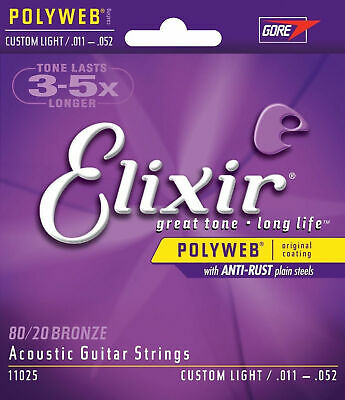 1 Sets Elixir 11025 Coated Acoustic Guitar Strings 11-52 Custom Light New