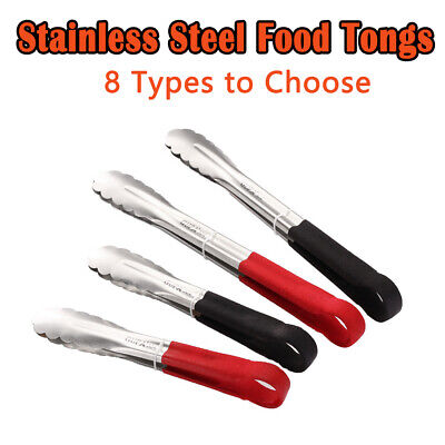 """Colour Coded Stainless Steel Food Tongs Serving Tongs In 2 Colours 9""""/12"""" New"""