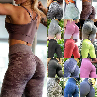 Womens High Waisted Yoga Pants Seamless Push Up Leggings Sports Gym Trousers A21