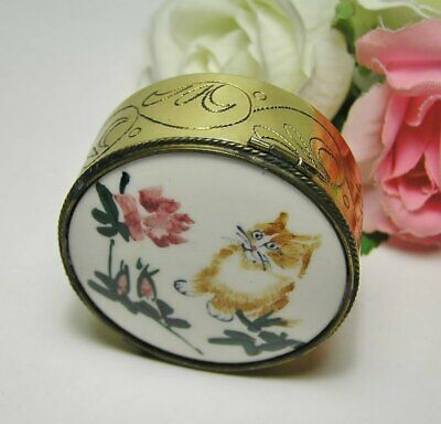 Vintage CHINESE Brass & Enamel RING BOX  with Blue FABRIC LINING * CAT & FLOWERS