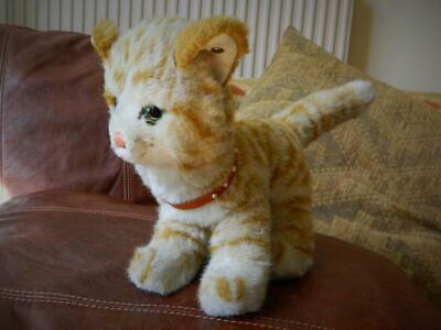 """STEIFF VINTAGE 1980s 14"""" GINGER TABBY & WHITE KITTY CAT WITH BUTTON & COLLAR"""