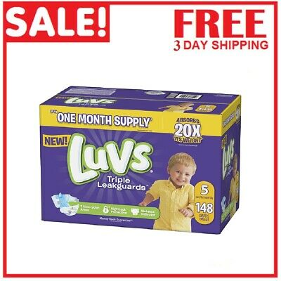 Diapers size 5 Luvs Ultra Leakguards Disposable 148 count Baby Diapers size 5