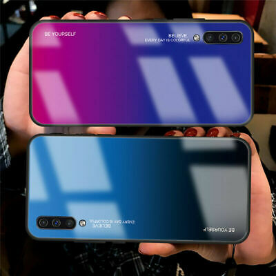 For Samsung Galaxy A50 A40 A20e A70 A80 Gradient Case Tempered Cover Glass Back
