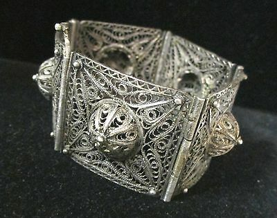 """Antique Vintage Sterling Silver 925 Wide Cut Out Bracelet With Pin Lock 7"""""""