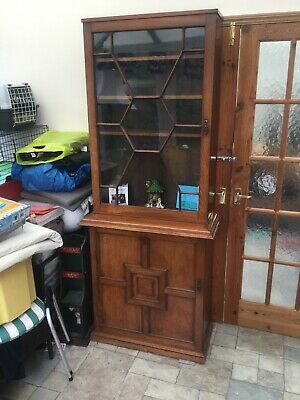 Victorian Mahogany ? Glass Doored Library Bookcase Cabinet