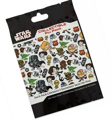 Disney Star Wars Cuties Mystery Collectible 5 Pc Pin Pack Bag Sealed - New