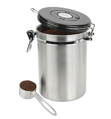 Coffee Stainless Steel Large Airtight Storage Container Canister w/ Scoop