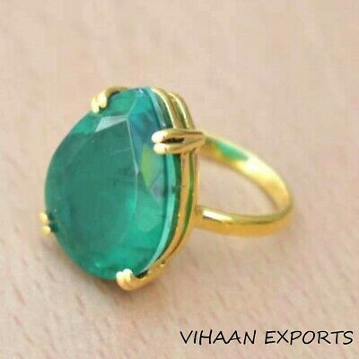 Emerald Ring , 925 Sterling Silver Pear Oval Natural Colombian Emerald Ring Sale