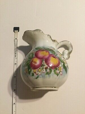 Vintage Collectibles--Hand Painted Apples--Mini Pitcher ---Great Patina