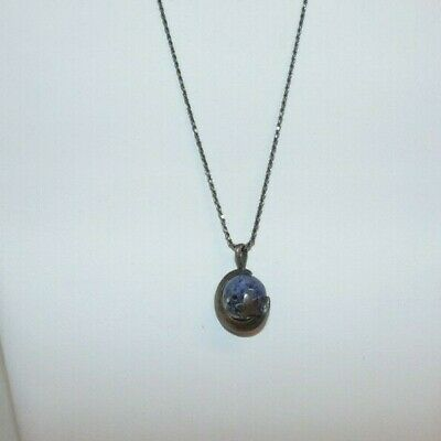 925 Sterling Silver Moon and Star with Round Blue Agate Necklace  A2117