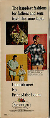 1966 Fruit of the Loom Dad and Son in Pajamas Vintage Print Ad 1530