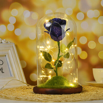 Beauty And The Beast Enchanted Rose Glass Lamp Dome Led Blue Rose Lighted Gift D