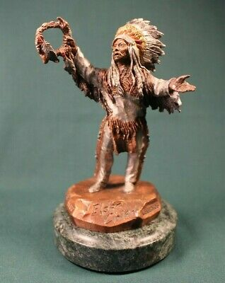 "C.A. Pardell Legends ""Elder Chief"" Mixed Media Bronze Sculpture"