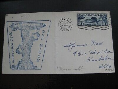 UNITED STATES very nice 1933 USS Macon Statue of Liberty Zeppelin cachet cover!