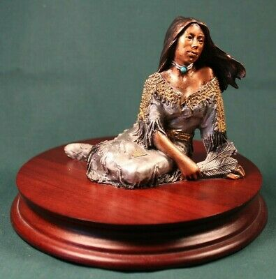 "C.A. Pardell Legends ""Indian Maiden"" Mixed Media Bronze Sculpture"