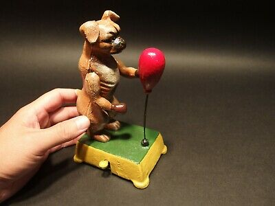 Vintage Antique Style Cast Iron Boxing Boxer Dog Mechanical Toy