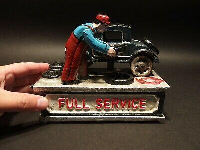 "Vintage Antique Style Cast Iron ""Full Service"" Mechanical Coin Bank Toy"