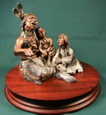 "C.A. Pardell Legends ""Story Teller"" Mixed Media Bronze Sculpture"