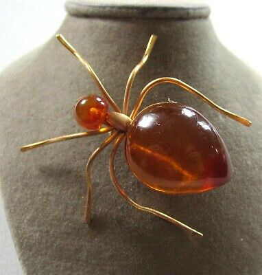 """Gorgeous Vintage Amber Spider Pin Gold Plated Big 1 7/8"""" Long Beauty"""