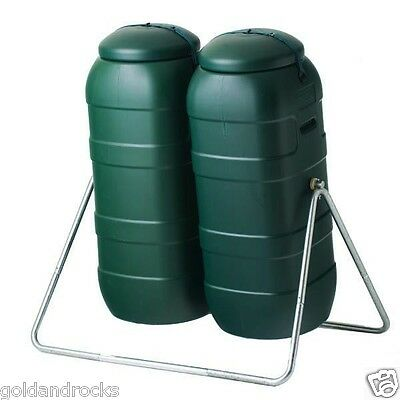 New Twin Compost Tumbler Green Slim and Narrow Design composting IMPROVED strap