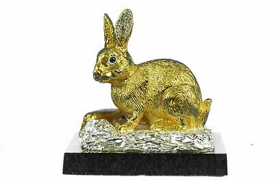 Figurine 2 lbs. 24K Gold Silver Plated Rabbit Bunny Cubic Bronze Sculpture eb
