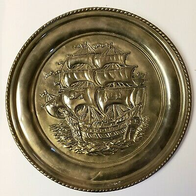 """Vintage Brass Tray Clipper Ship Embossed MCM Wall Hanging Plate 16"""" Wide"""