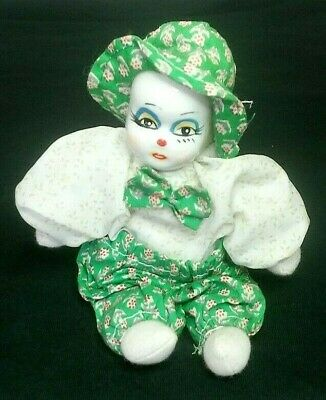"""Vintage Hand Painted Porcelain Head Sand Filled Clown Doll Hand Painted 6"""" Tall!"""