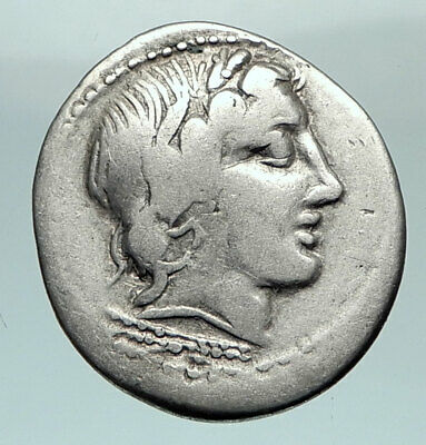 Roman Republic 86BC Sulla Time ANONYMOUS Apollo Jupiter Silver Coin  i80460