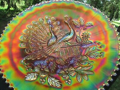 Northwood PEACOCKS ANTIQUE CARNIVAL GLASS PLATE~MARIGOLD~ABSOLUTELY BEAUTIFUL!
