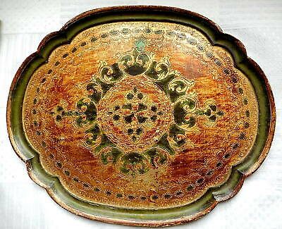 Large and Antique Plate Oval Wood Golden Decorated with Style 55 x 42 CM