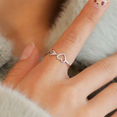 925 Silver Heart Arrow Adjustable Opening Ring Women Wedding Engagement Jewelry