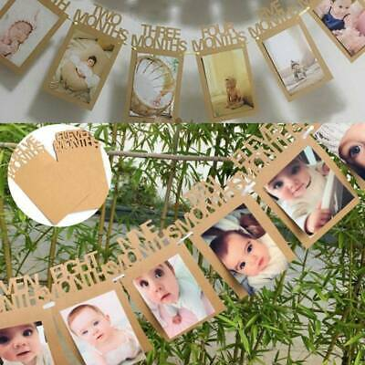 1-12 Months Baby 1st Birthday Photo Frame Shower Bunting Banner Party Decor DIY