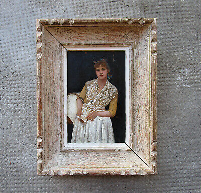 Antique Very Nice Small Painting, Large Miniature not Signed, Frame Montparnasse