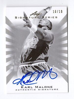 Karl Malone Nba 2012-13 Leaf Signature Black And White Silver #/10 ( Jazz,Lakers