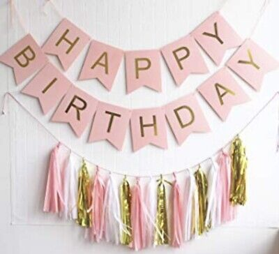 Birthday Banners Bunting Garland Decoration Tassles Pink and Blue Wedding Party
