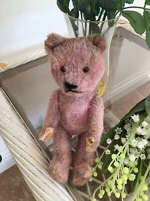 Wonderful Antique Carnival Bear PINK 9 Inches High.