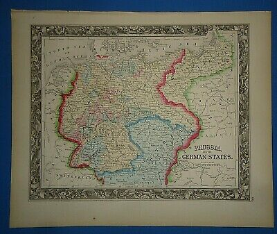 Vintage Circa 1860 GERMANY PRUSSIA MAP Old Antique Original Vibrant Hand Colored
