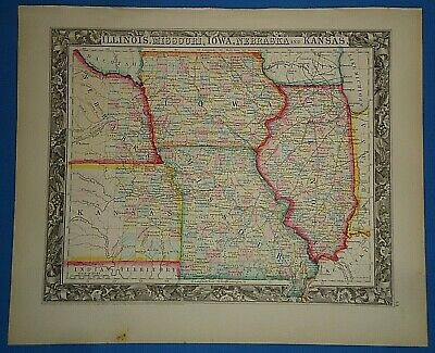 Vintage Circa 1860 KANSAS NEBRASKA TERRITORIES MAP Antique Original Hand Colored