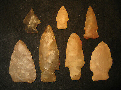 7 Authentic Central Texas Prehistoric Arrowheads, Ancient Indian Artifacts, #7A