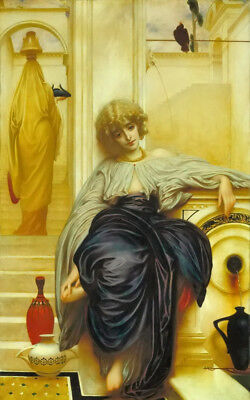 Dream-art Oil painting Lord Frederick Leighton CCC Lieder ohne Worte girl seated