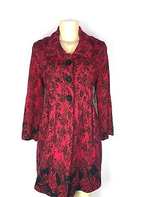 Brand New Zozo Red/Black Floral Heavy Knit Bell 3/4 Full Length Sweater Size L
