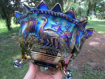 Northwood PEACOCK AT THE FTN ANTIQUE CARNIVAL GLASS FTD FRUIT BOWL~BLUE~GORGEOUS