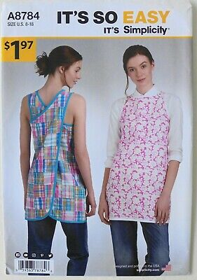 Simplicity 8784 Its So Easy Misses Wrap Around Apron Top Sewing Pattern Sz 8-18