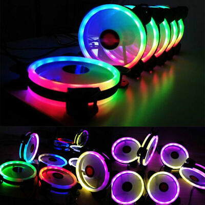 5pcs Game RGB 16.8 Million Color LED Ring PC 12cm Case Fan Cooler AU New 2019
