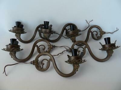 6 Vintage muted Gold anodised scrolling cast metal Wall sconce light fittings