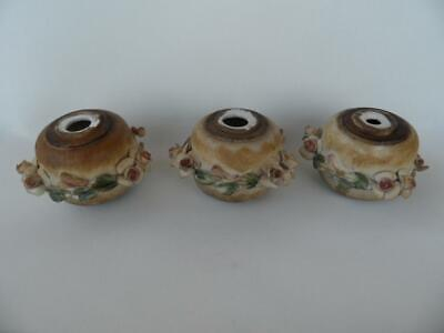 3 Vintage 70's hand made Italian Bassano floral encrusted porcelain decor craft