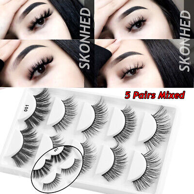 SKONHED 5 Pairs Mix Style 6D Faux Mink Hair False Eyelashes Thick Fluffy Long~