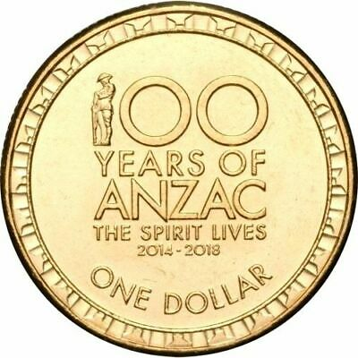 2016 Australian 100 Years of ANZAC One Dollar $1 Coin - Circulated - Low Mintage